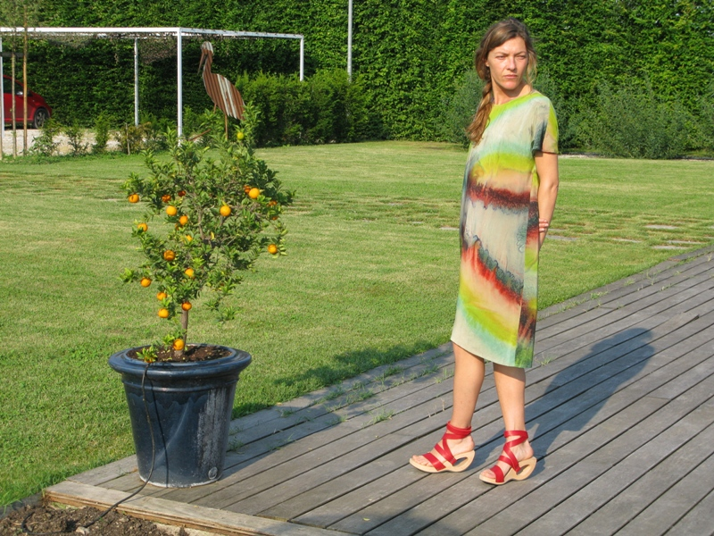 Katrien Van Hecke dress, Trippen tong sandal