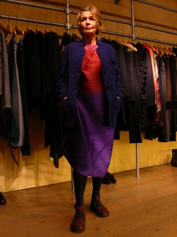 Daniela Gregis jacket, Issey Miyake dress Fall/Winter 2014
